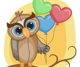 Cute Owl Holding 3 Heart Balloons Cartoon Background Vector