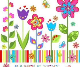 Cute flower butterfly background vector