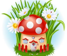 Cute mushroom house and white flower background vector