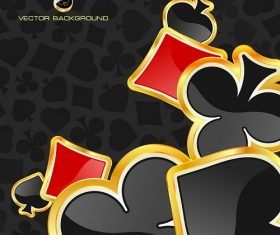 Diamond Spade Clover gold lining printed dark background vector