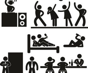Disco bar drinking people icons Vector
