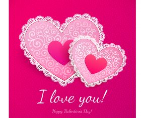 Double Heart I Love You Background Vector
