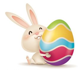 Easter Bunny Hugging Colorful Egg Background Cartoon Vector