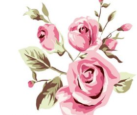 Elegance Illustration with Pink Flowers Vector