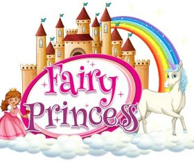 Fairy Princess clouds unicorn castle rainbow Vector