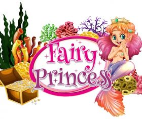 Fairy Princess mermaid treasure corals Vector