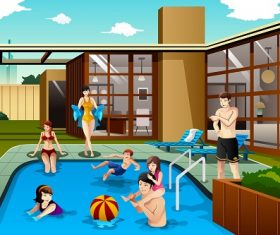 Family and Friends Spending Time in the Backyard Swimming Pool Cartoon Background Vector