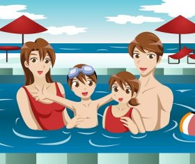 Family in a Swimming Pool Enjoying Cartoon Background Vector