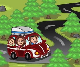 Family on a Road Trip Cartoon Background Vector