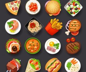 Fast Food Dishes Icon Vector