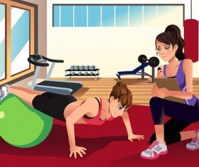 Female Personal Trainer Training a Woman in the Gym Cartoon Background Vector