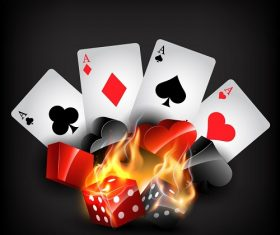 Flaming Cards and domino dark Background Vector.