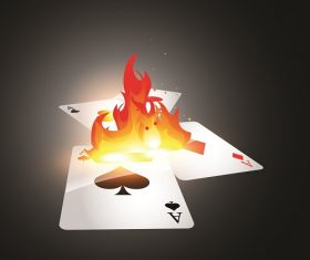 Flaming Gambling Cards Backgrounds Vector