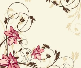 Flower with Swirl Floral Illustration Vector