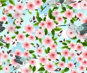 Flowers and birds background Vector