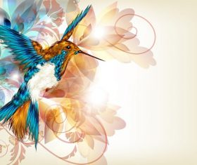 Flying bird with colorful floral Swirl Background Vector