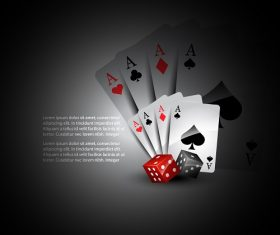 Full house card with dice Vector