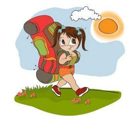 Girl in Backpack Walking Under the Sun Cartoon Vector