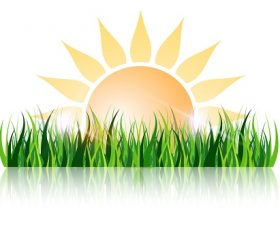 Grass and Sun Background Vector