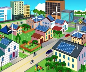 Green Environment Friendly City Scene Cartoon Background Vector