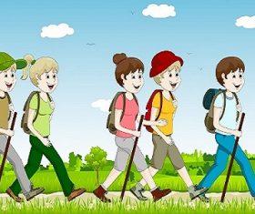 Group of People Walking Cartoon Vector