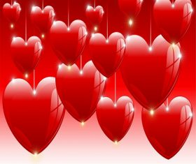Hanging Hearts with Strings Background Vector