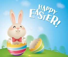 Happy Easter Greeting with Bunny inside Crack Egg Cartoon Background Vector
