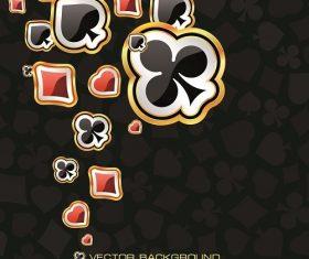 Heart clover spade diamond gold line black background vector