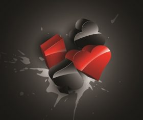 Hearts Clover Spade Splash Dark Backround Vector