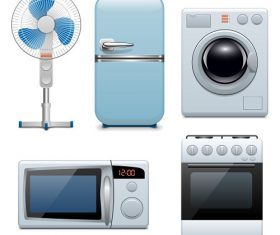 Heating and Cooling Household Appliances Vector