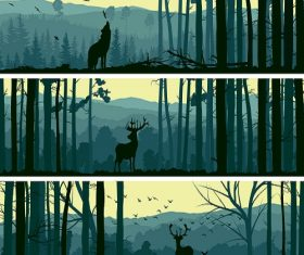 Horizontal Banners of Wild Animals in Hills Wood Abstract Background Vector.