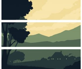 Horizontal Banners with a Silhouette Rural Landscape Background Vector