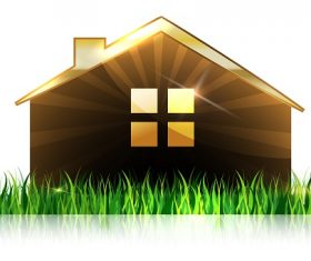 House and Grass Background Vector