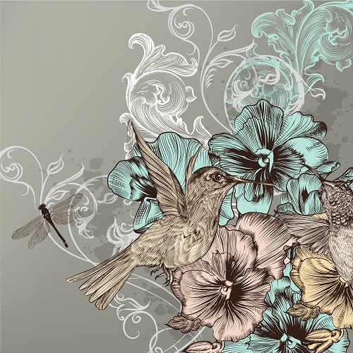 Humming bird drinking in flower background vector