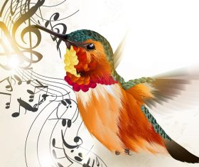 Humming bird musical notes background Vector