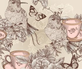 Humming birds with butterfly tea cup background vector