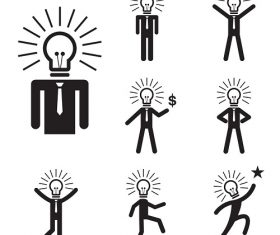 Idea Man Cartoon Icon Background Vector