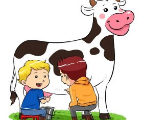 Kid Milking the Cow While Talking to Another Kid Cartoon Background Vector