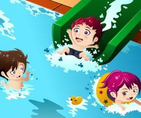 Kids Having Fun in the Swimming Pool Background Cartoon Vector