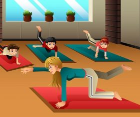 Kids in a Yoga Class Cartoon Background Vector