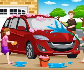 Happy Kids Helping their Father Washing Car Cartoon Background Vector