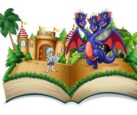 Knight 3 head dragon Castle book Vector