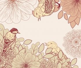 Flower and birds background vector