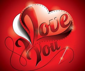 Love You Heart Red Background Vector