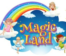 Magic Land Fairies Clouds Raindbow Vector