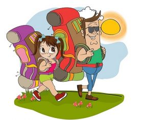 Man and Kid Walking Under the Sun with Backpack Cartoon Vector