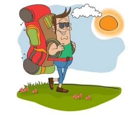 Man in Backpack Walking Under the Sun Cartoon Vector