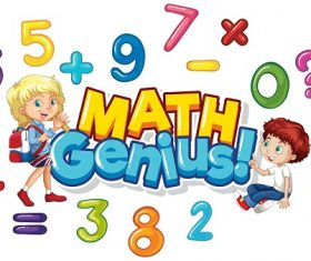 Math Genius with kids, numbers and math symbols Vector