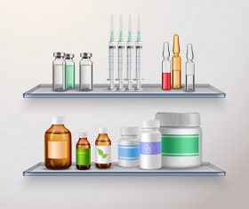 Medicine Bottles and Syringe Vector