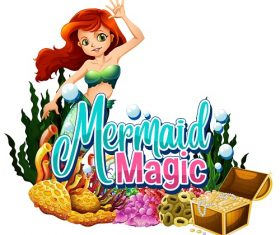 Mermaid Magic under water treasure corals Vector